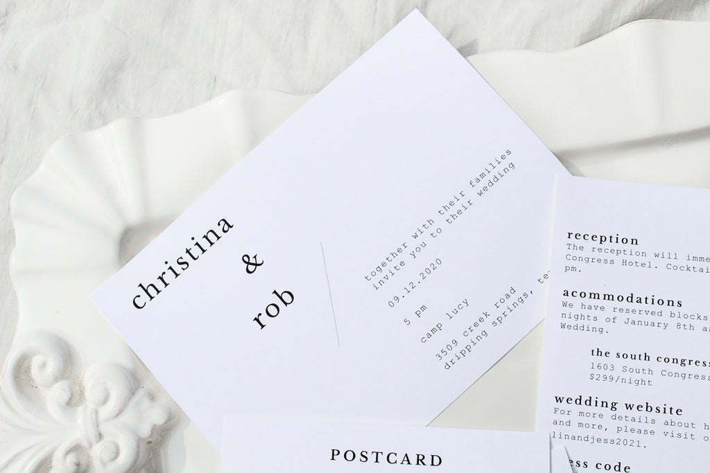 minimalist, scandanavian wedding invitations sustainably printed on 100% recycled paper