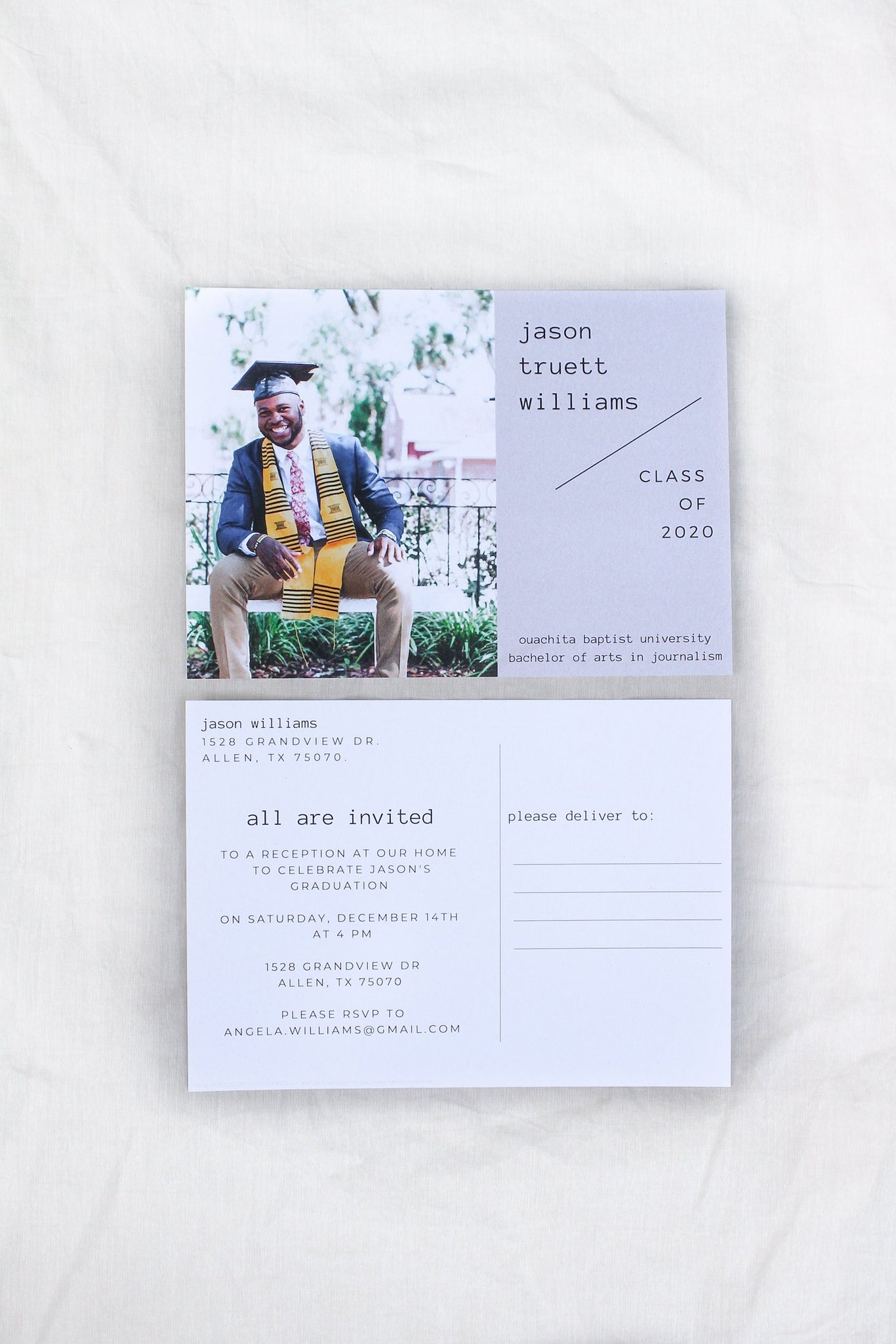 Minimalist Scandinavian design high school college graduation announcement photo postcards sustainably printed on 100% recycled paper