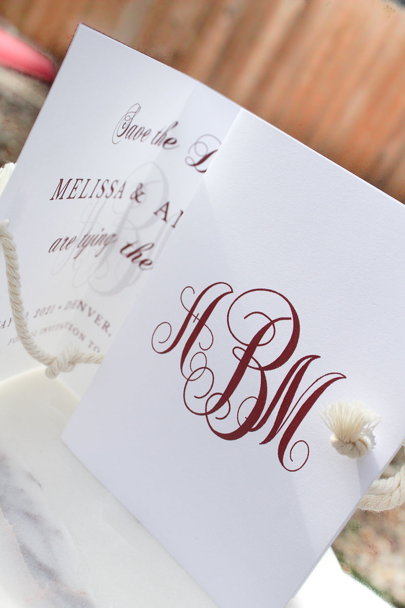 tie the knot wedding save the date cards sustainably printed on 100% recycled pape