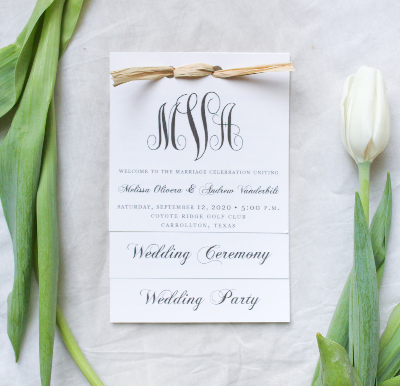 classic southern monogram elegant calligraphy layered wedding invitations sustainably printed on 100% recycled paper