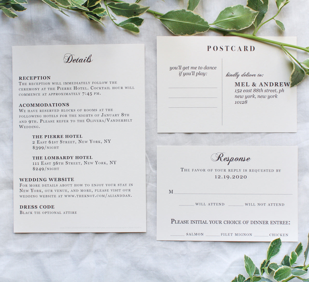 classic southern monogram wedding invitations sustainably printed on 100% recycled paper