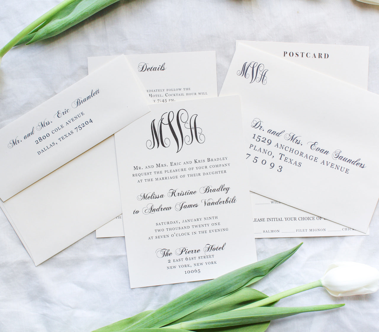 classic southern monogram wedding invitations sustainably printed on 100% recycled paper envelope