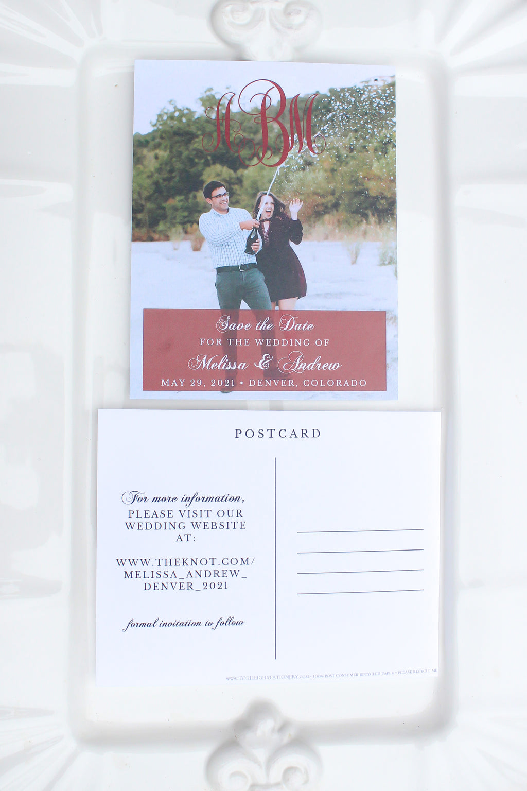 Monogram Save the Date Photo Postcard