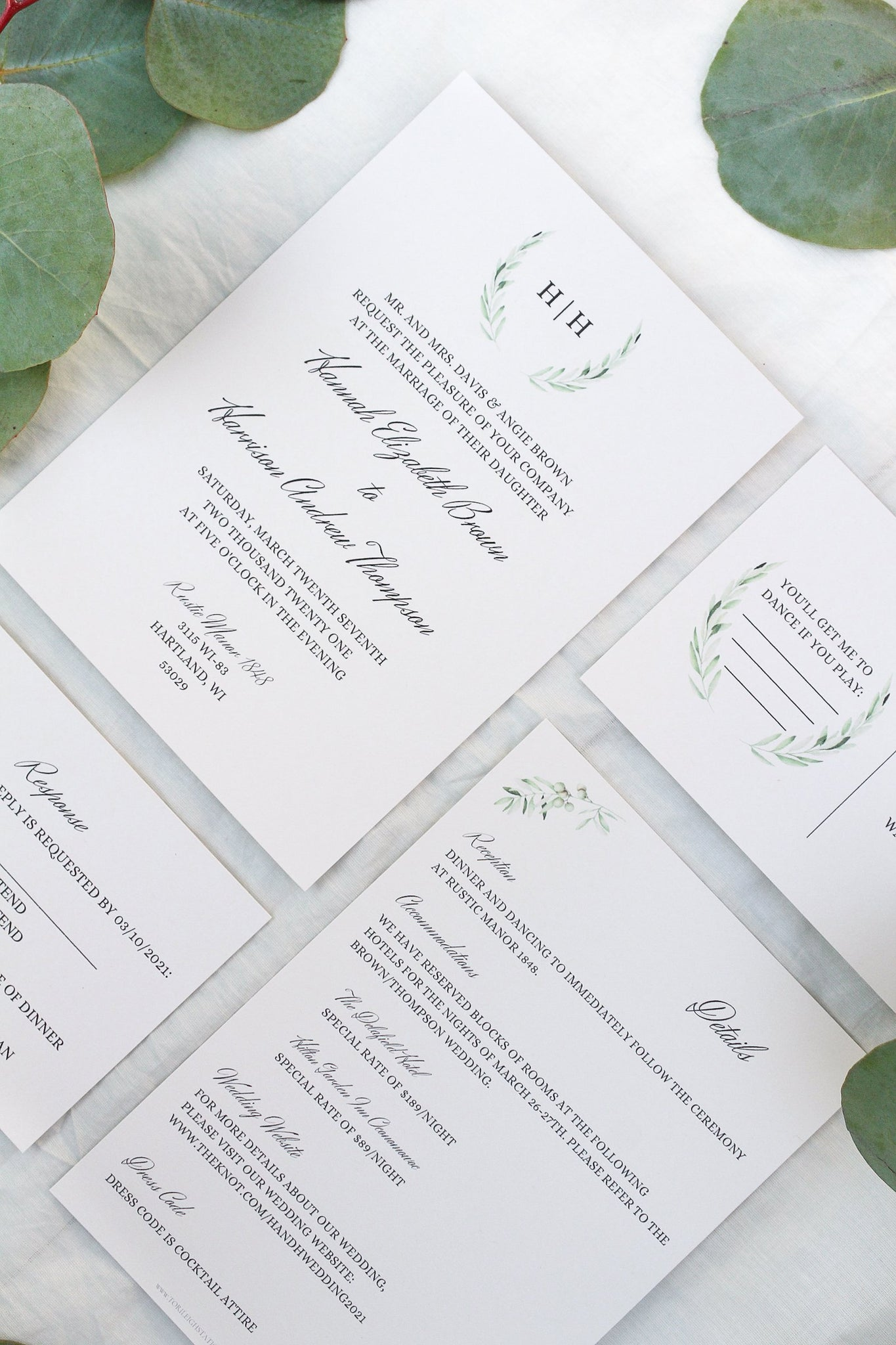 laurel wreath, olive branch, elegant calligraphy wedding invitations sustainably printed on 100% recycled paper