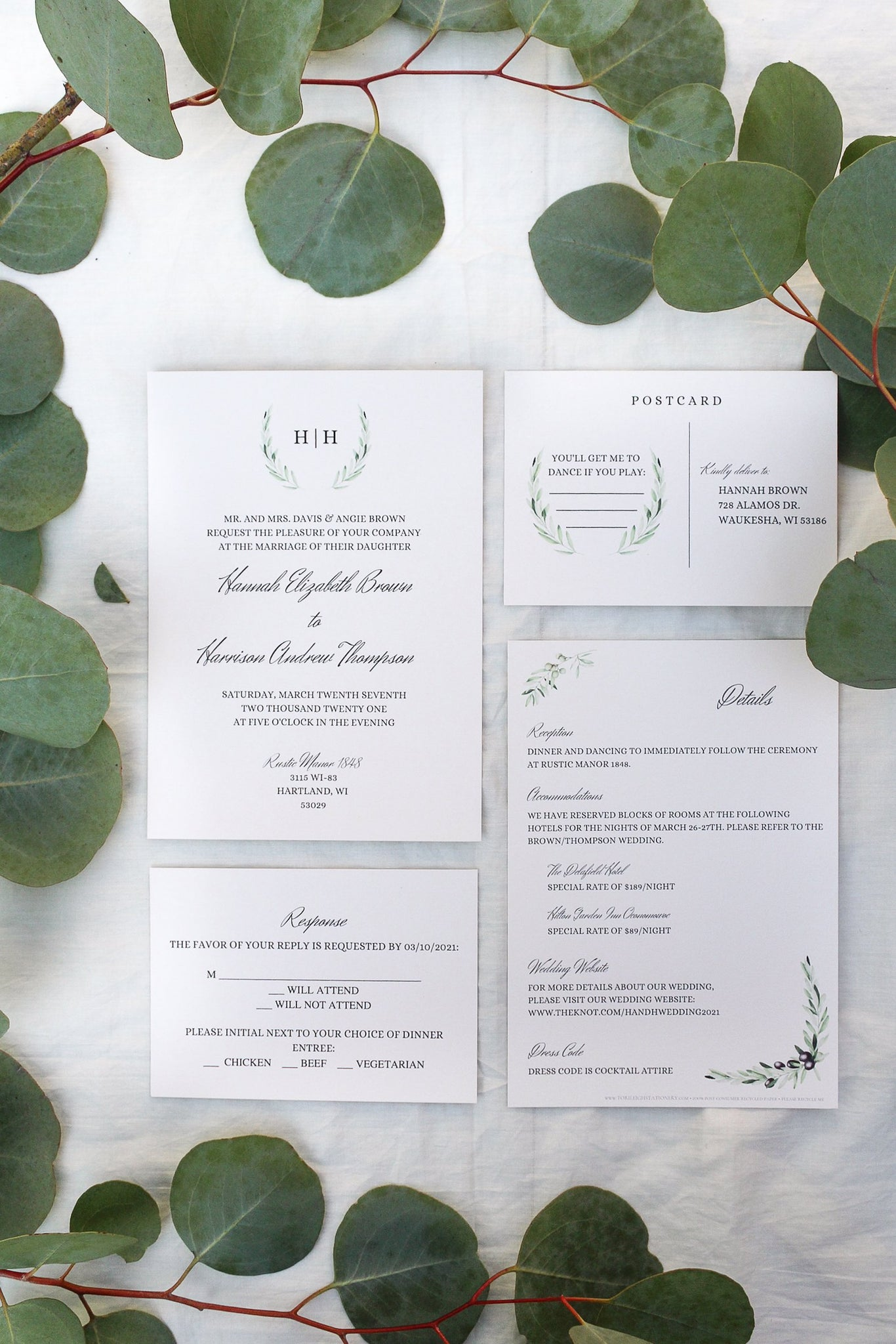 laurel wreath, olive branch, elegant calligraphy wedding invitations sustainably printed on 100% recycled paper rsvp card