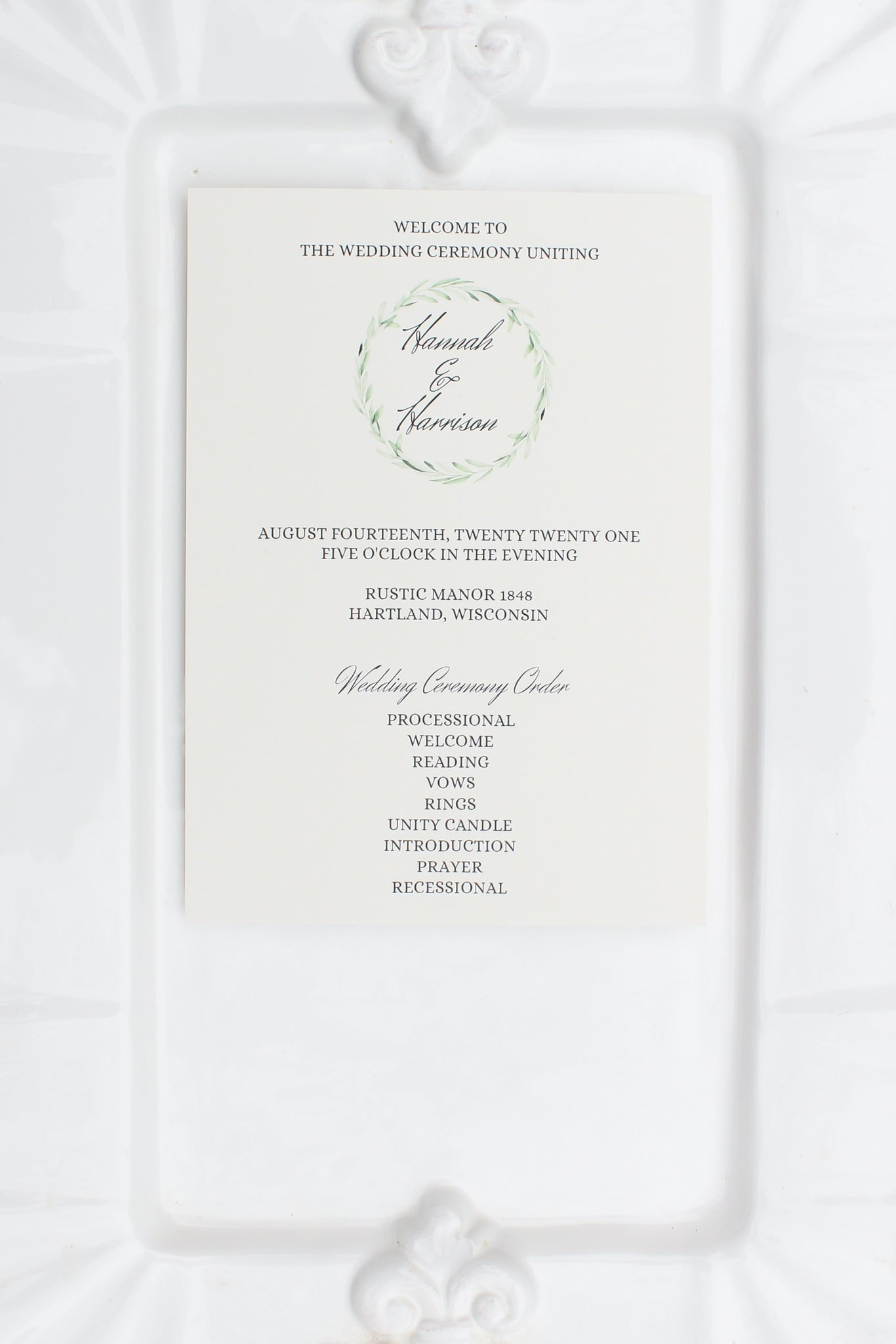 wedding programs sustainably printed on 100% recycled paper