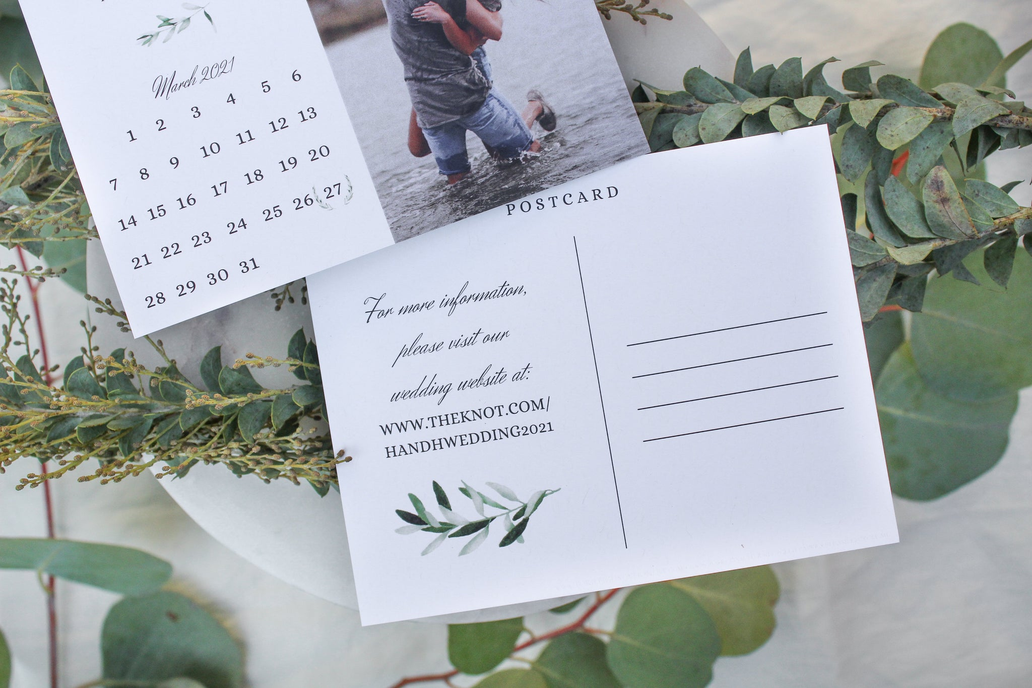 elegant classic calendar photo wedding save the date postcards sustainably printed on 100% recycled paper