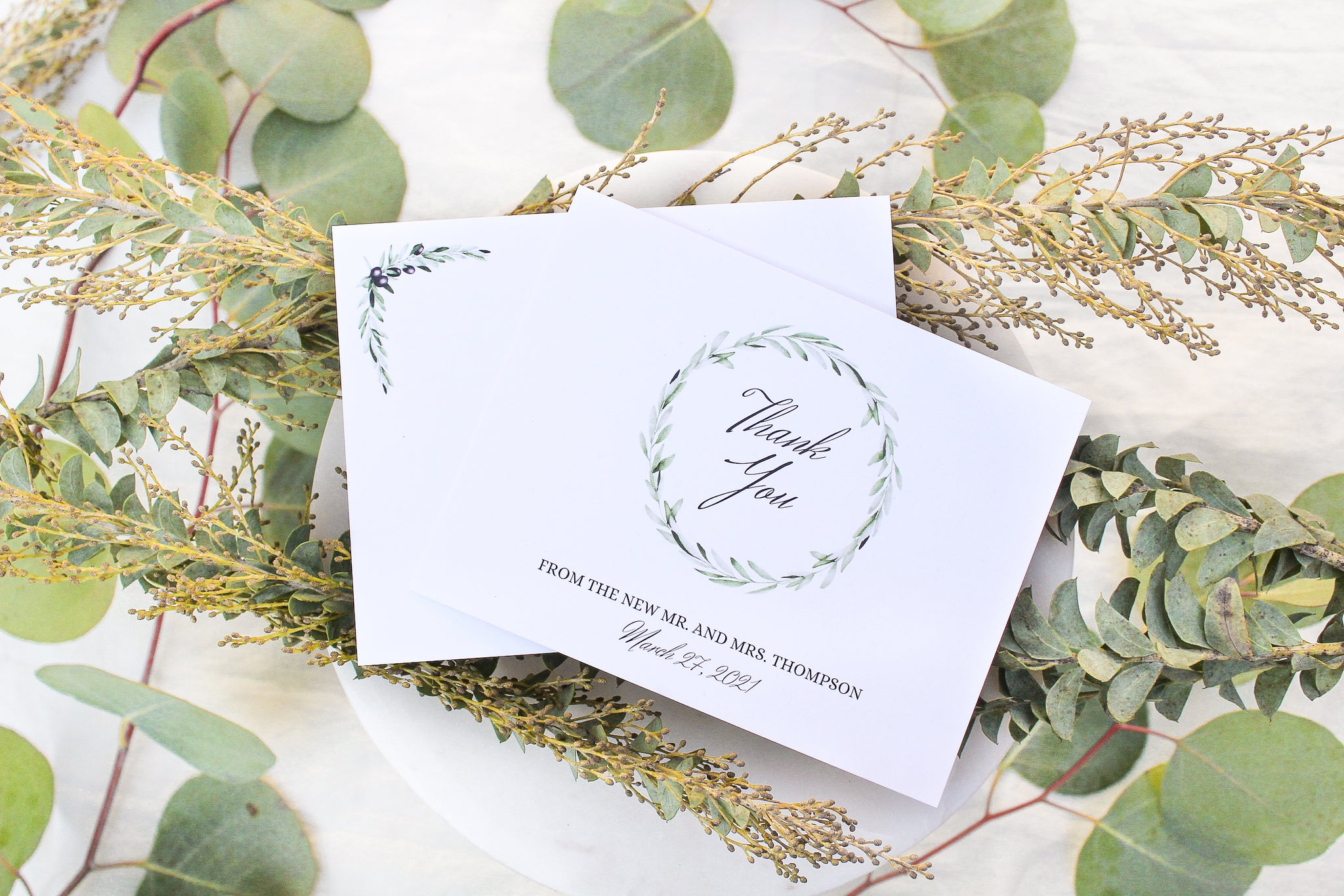 laurel wreath, olive branch, calligraphy personalized thank you note cards sustainably printed on 100% recycled paper