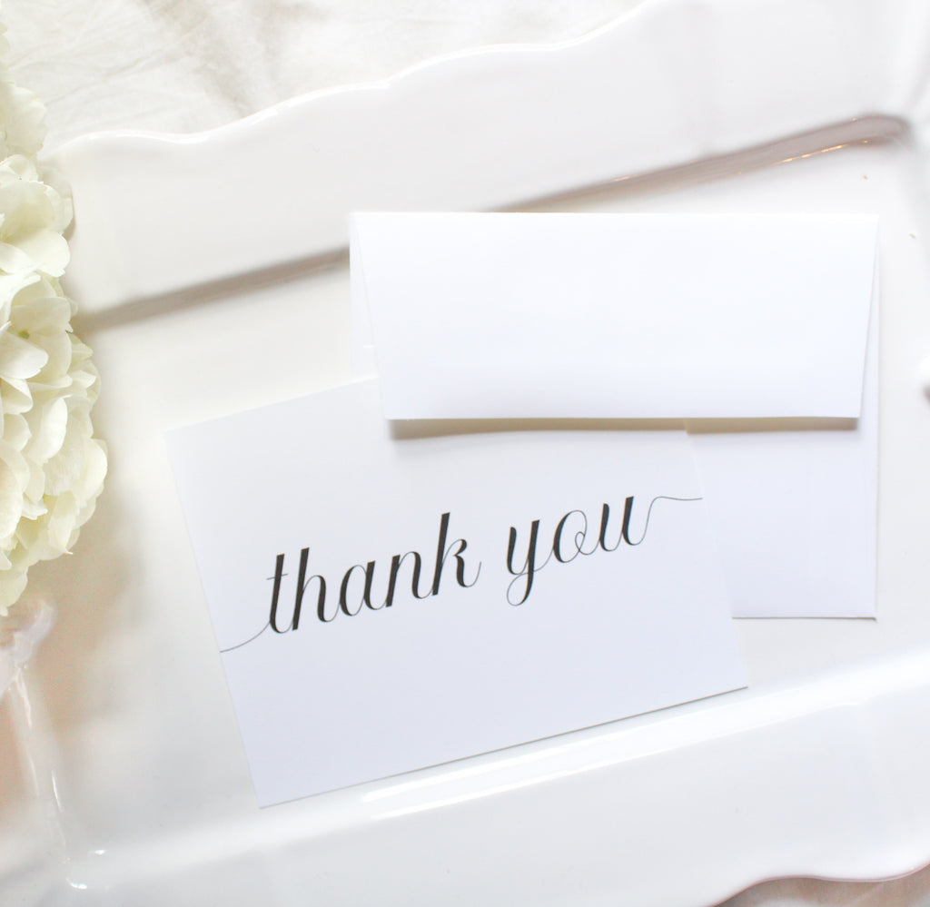 calligraphy  thank you notecards sustainably printed on 100% recycled paper