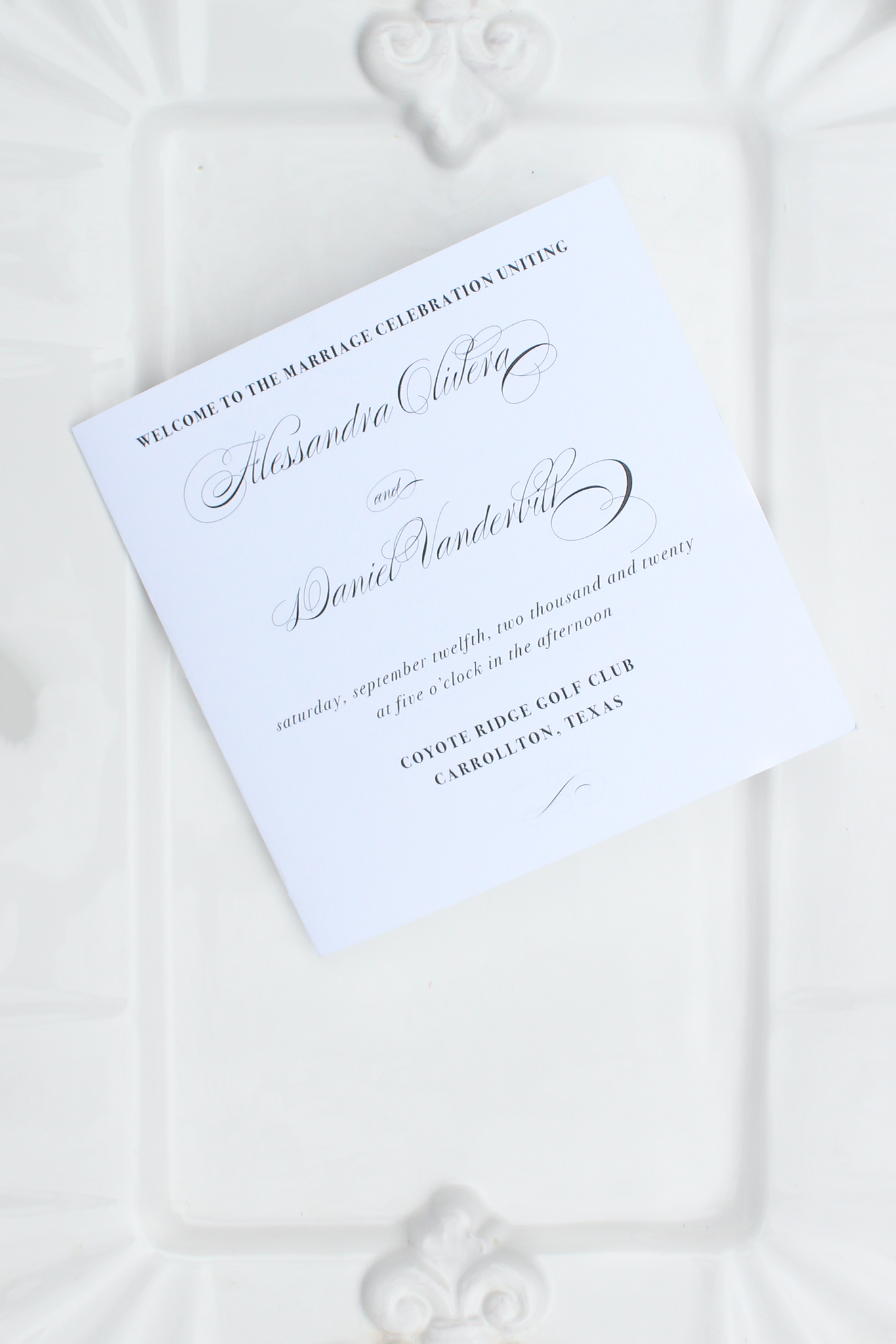 elegant calligraphy square folded wedding programs sustainably printed on 100% recycled paper