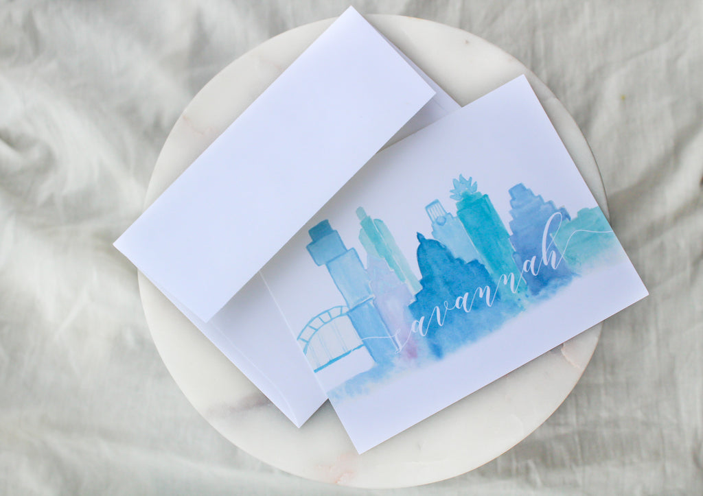 Austin Skyline Simple Personalized Notecards