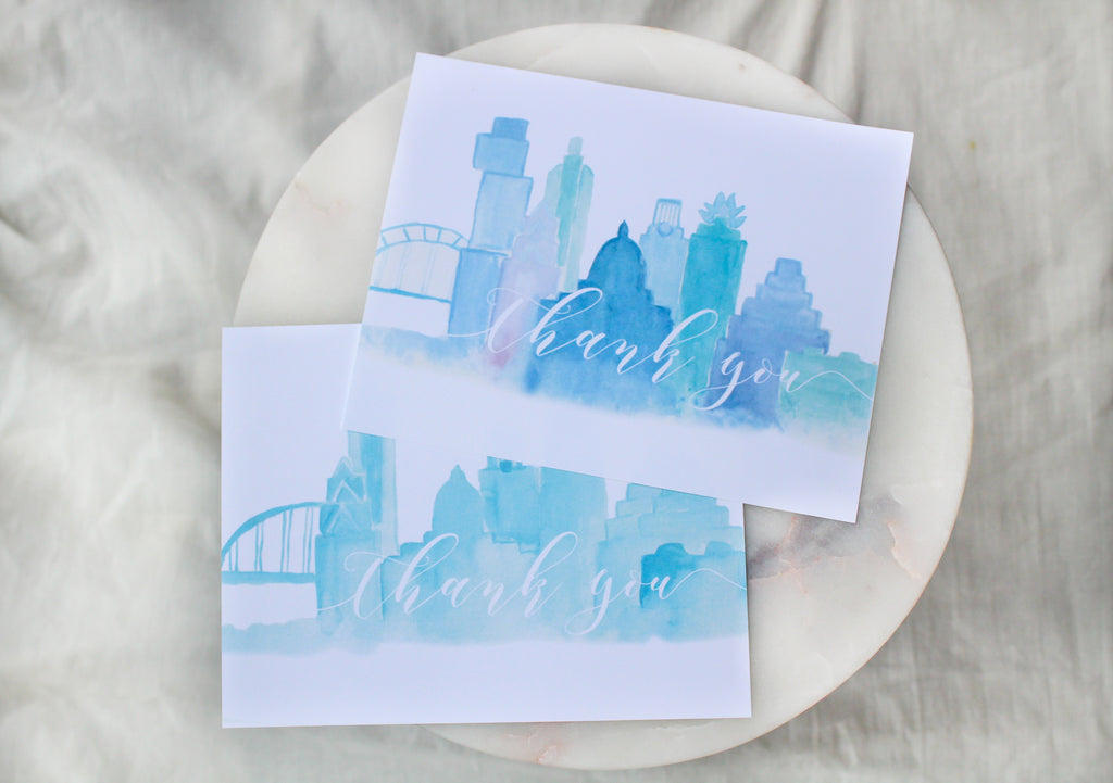 Austin Skyline Thank You Cards