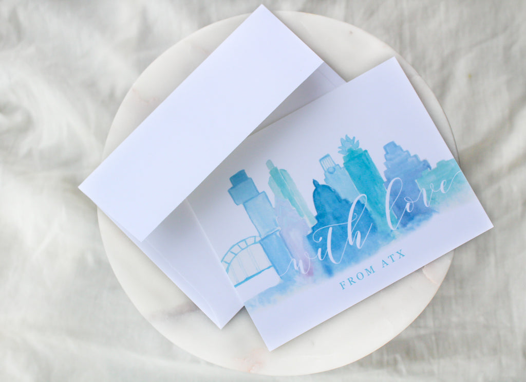 Austin Skyline 'With Love From ATX' Notecards