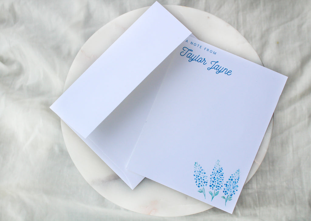 Bluebonnet 'A Note From' Personalized Notecards