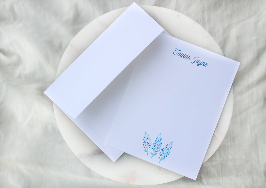 Bluebonnet Simple Personalized Notecards