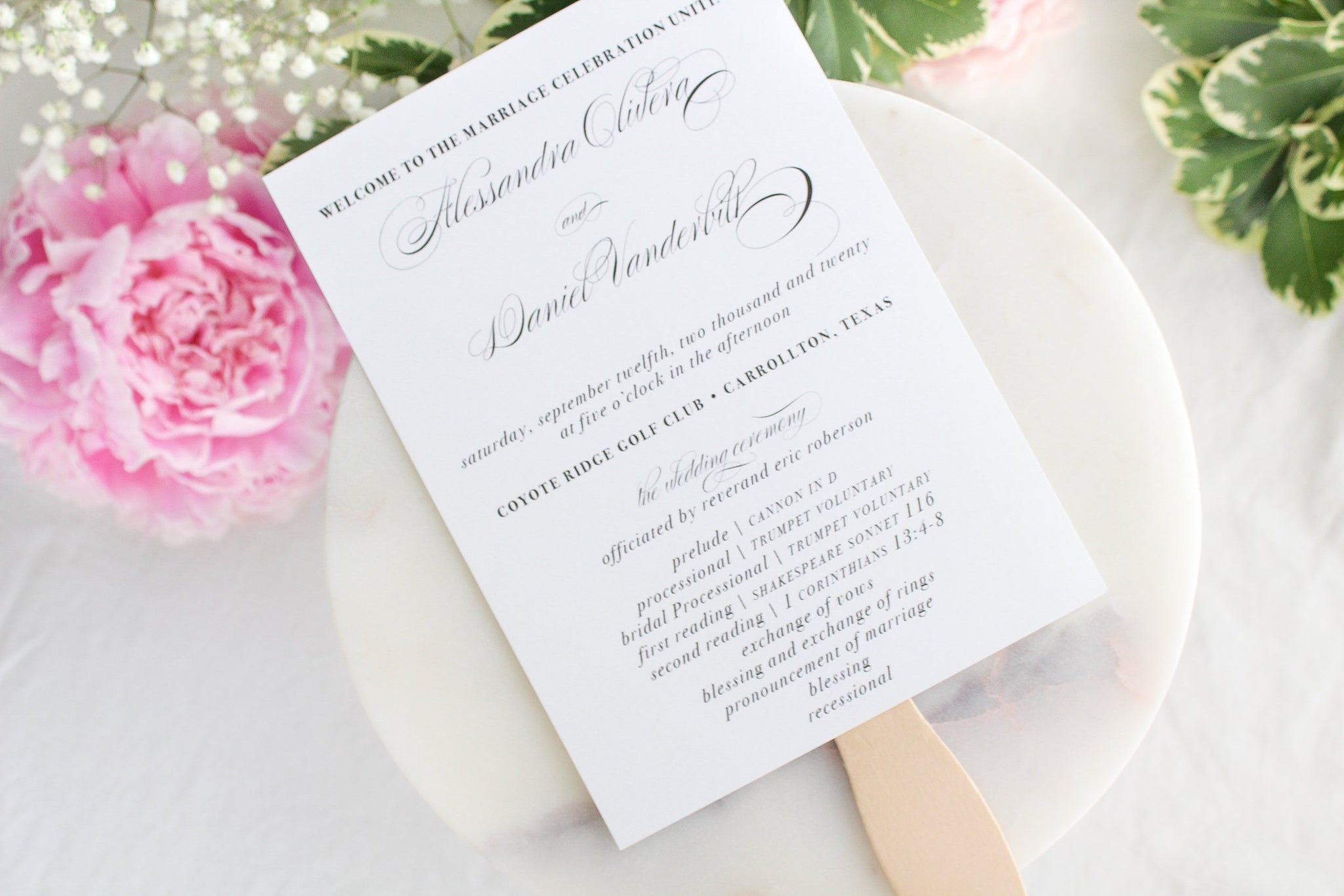 elegant calligraphy wedding paddle fan sustainably printed on 100% recycled paper