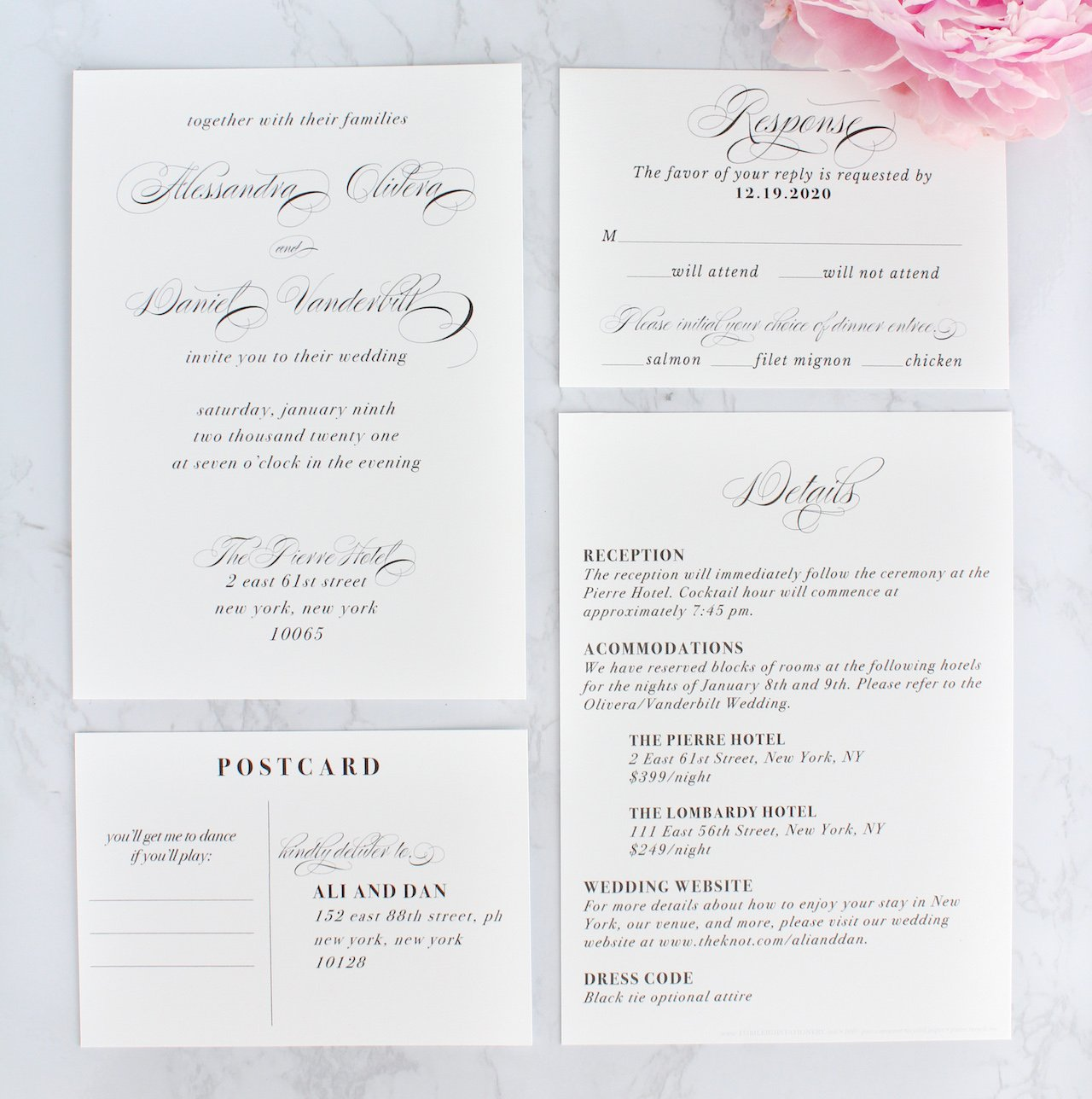 elegant wedding invitations with calligraphy script, sustainably printed on recycled paper