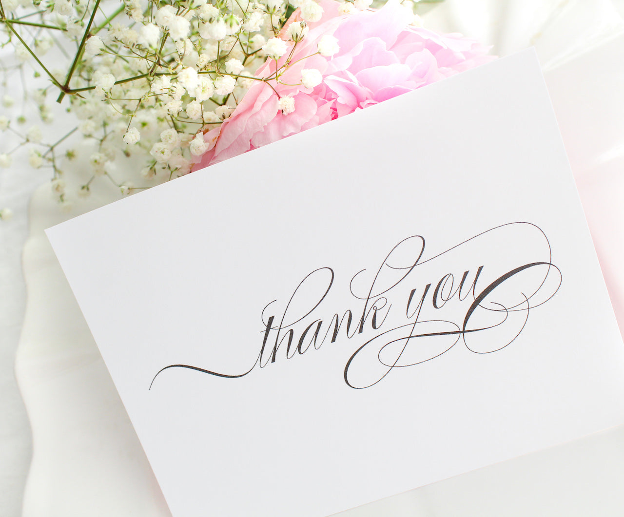 elegant calligraphy thank you notecards sustainably printed on 100% recycled paper