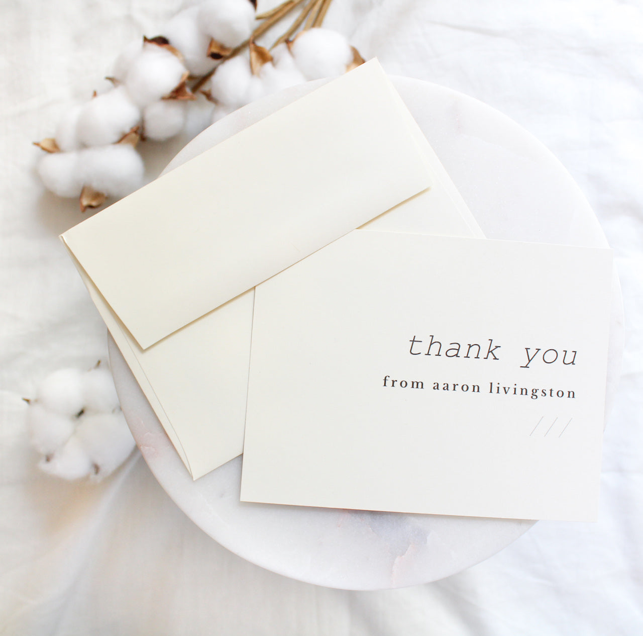 minimalist, Scandinavian  personalized thank you note cards sustainably printed on 100% recycled paper