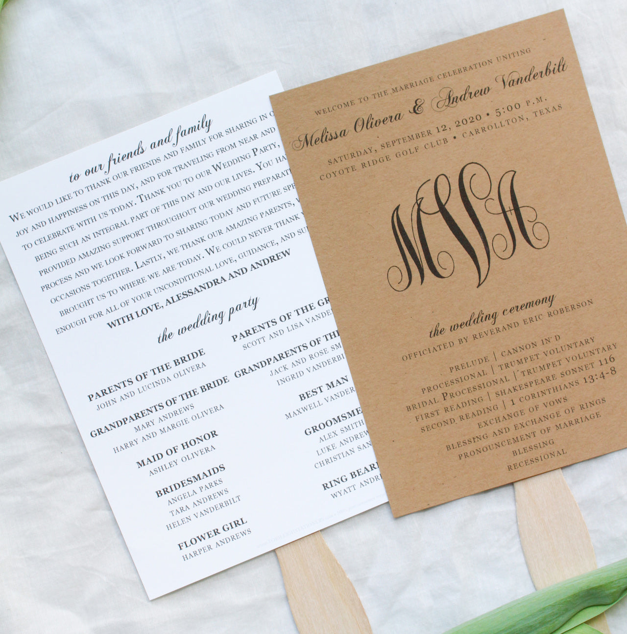 Monogram Paddle Fan Wedding Programs