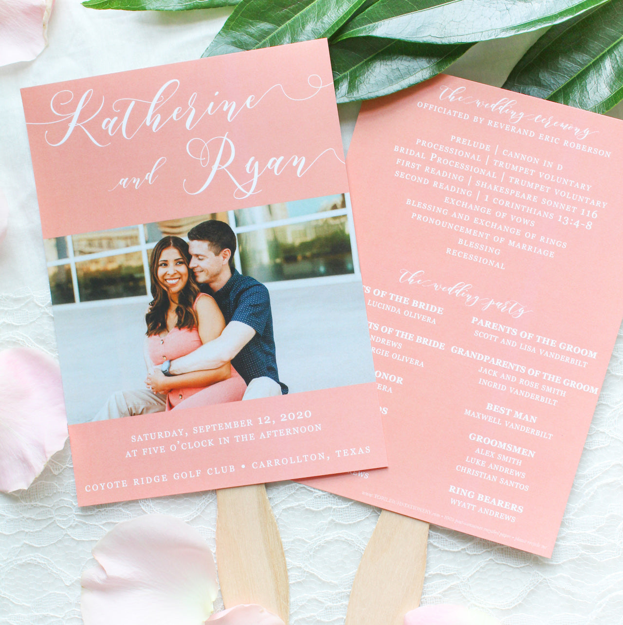 photo paddle fan wedding program sustainably printed on 100% recycled paper