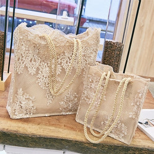 Lace Embroidery Tote Bag - ethnic-ville-shop