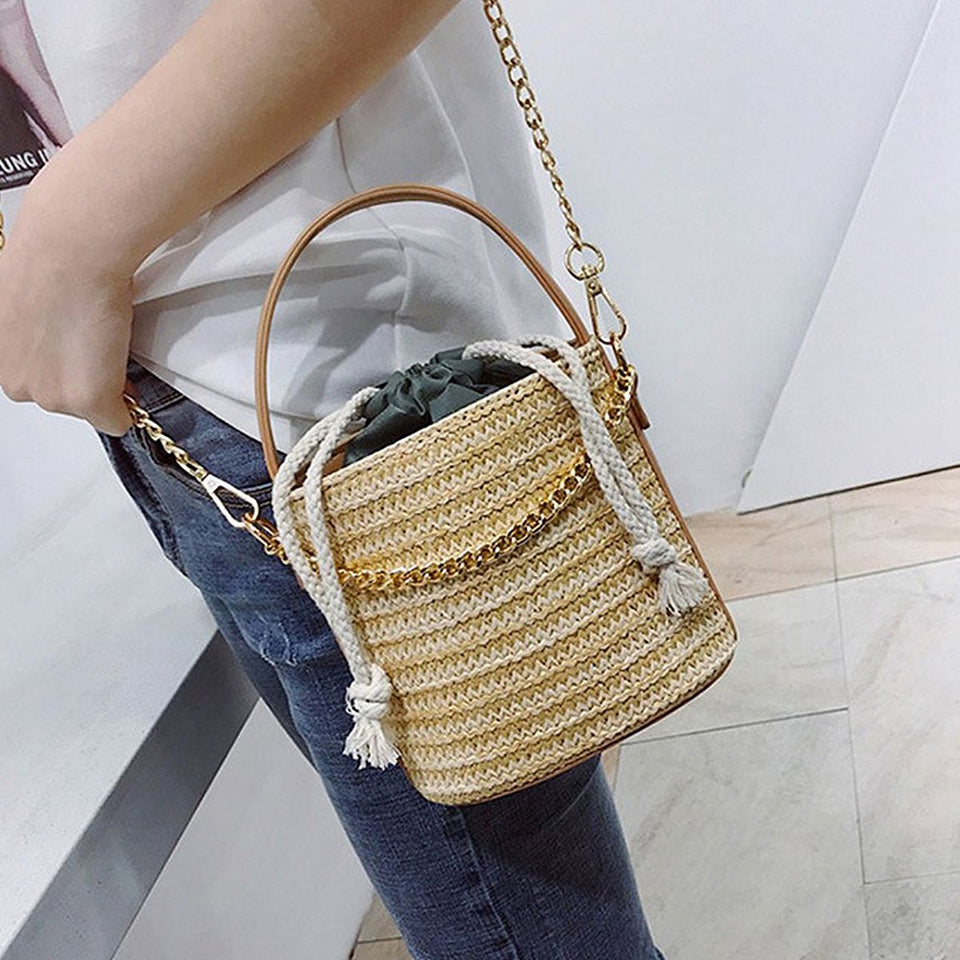 Straw Woven Bucket Bag - ethnic-ville-shop