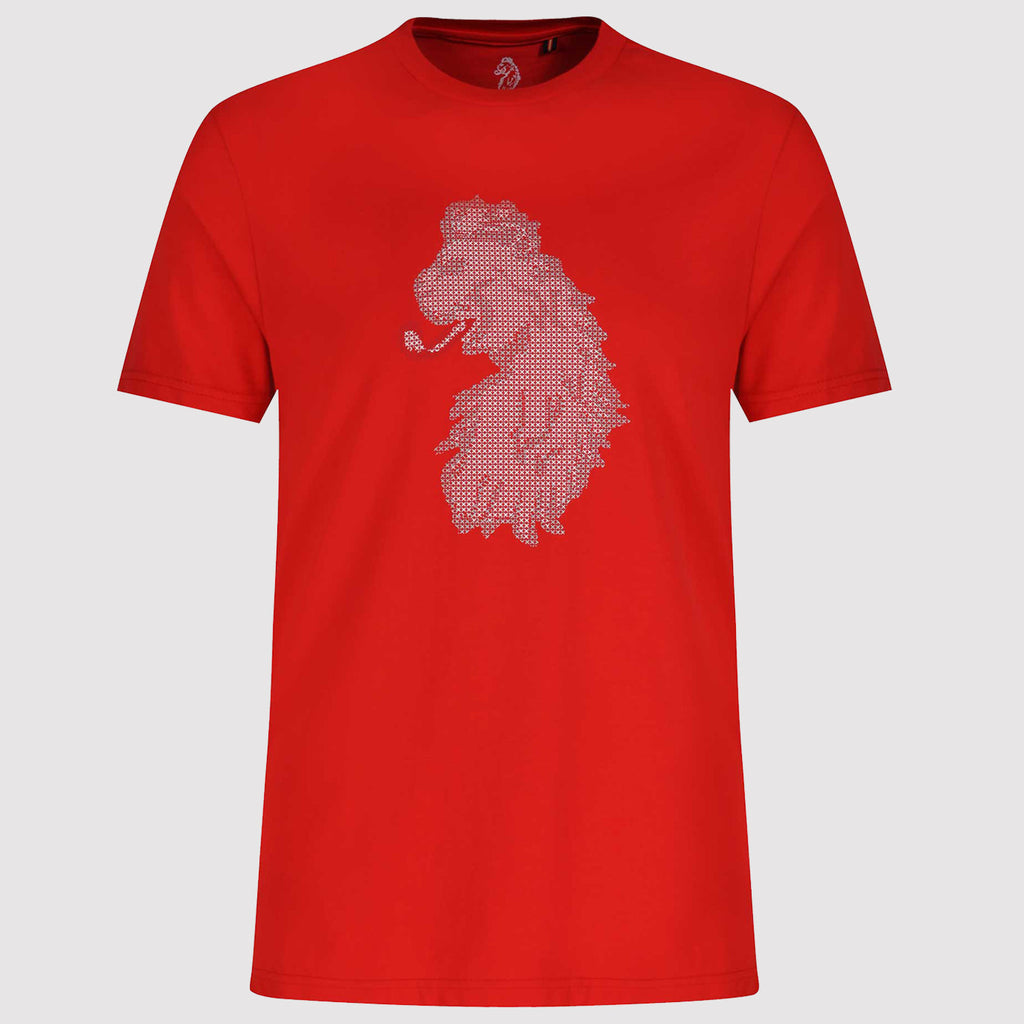 Luke 1977 Cross Stitch Lion Printed T Shirt - Red - Front