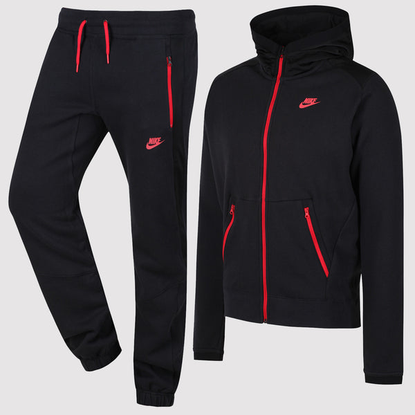 Nike Hybrid Fleece Tracksuit - Black/Red - Front