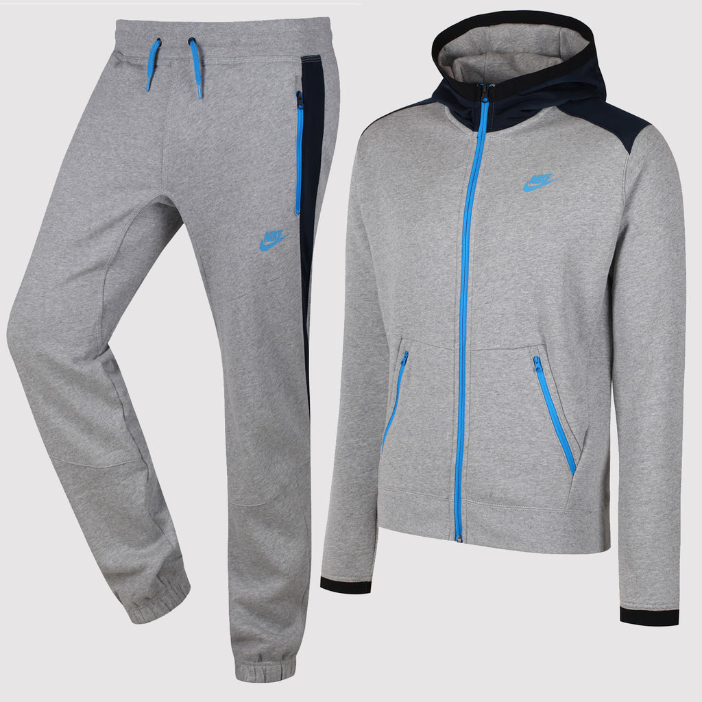 Nike Hybrid Fleece Tracksuit - Grey/Blue - Front 2