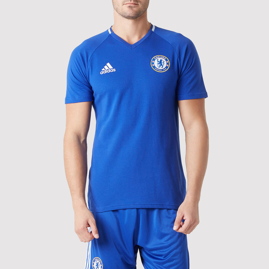adidas Chelsea FC Anthem T Shirt - Blue - Front