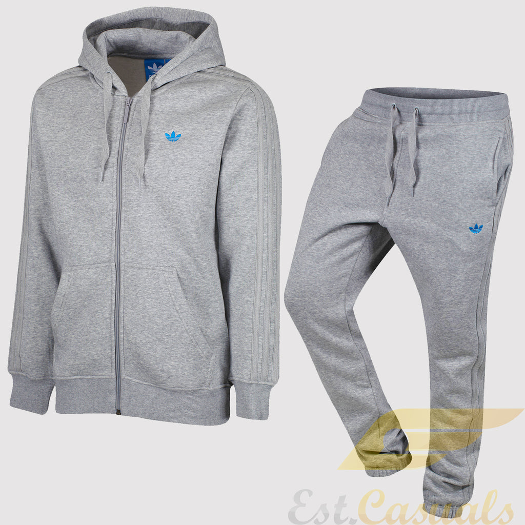 adidas Originals Classic Trefoil Fleece Tracksuit - Grey - front