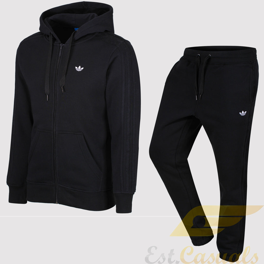 adidas Originals Classic Trefoil Fleece Tracksuit - Black - front