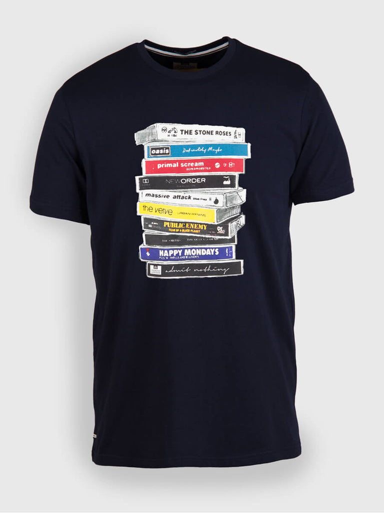 Weekend Offender Cassettes T Shirt - Navy - front