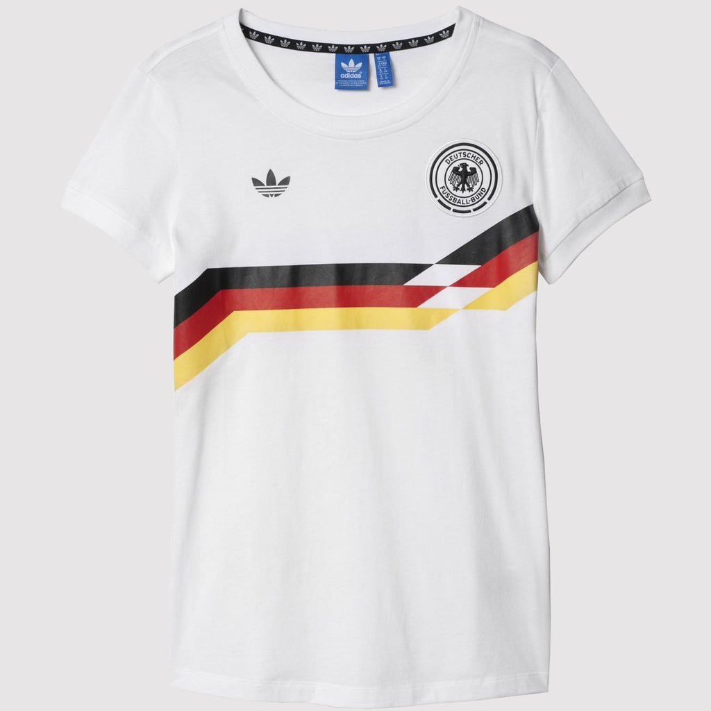 adidas Originals Womens Germany Retro T Shirt - White - Front