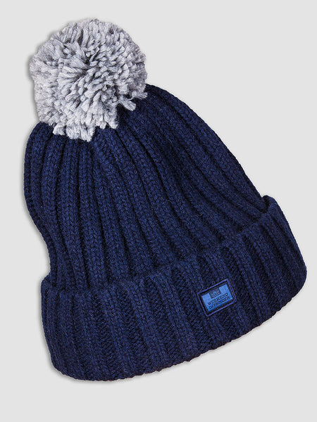 Weekend Offender Costner Pom Pom Bobble Hat - Navy
