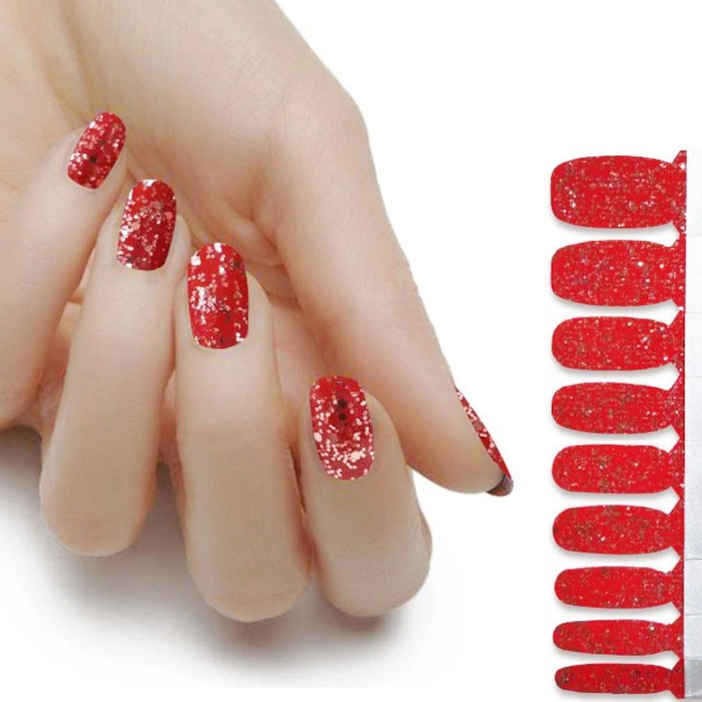 Lux Red Glitter on Red - The Flamingo Lady Nails