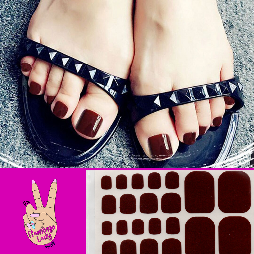Fun Toe Black Cherry - The Flamingo Lady Nails