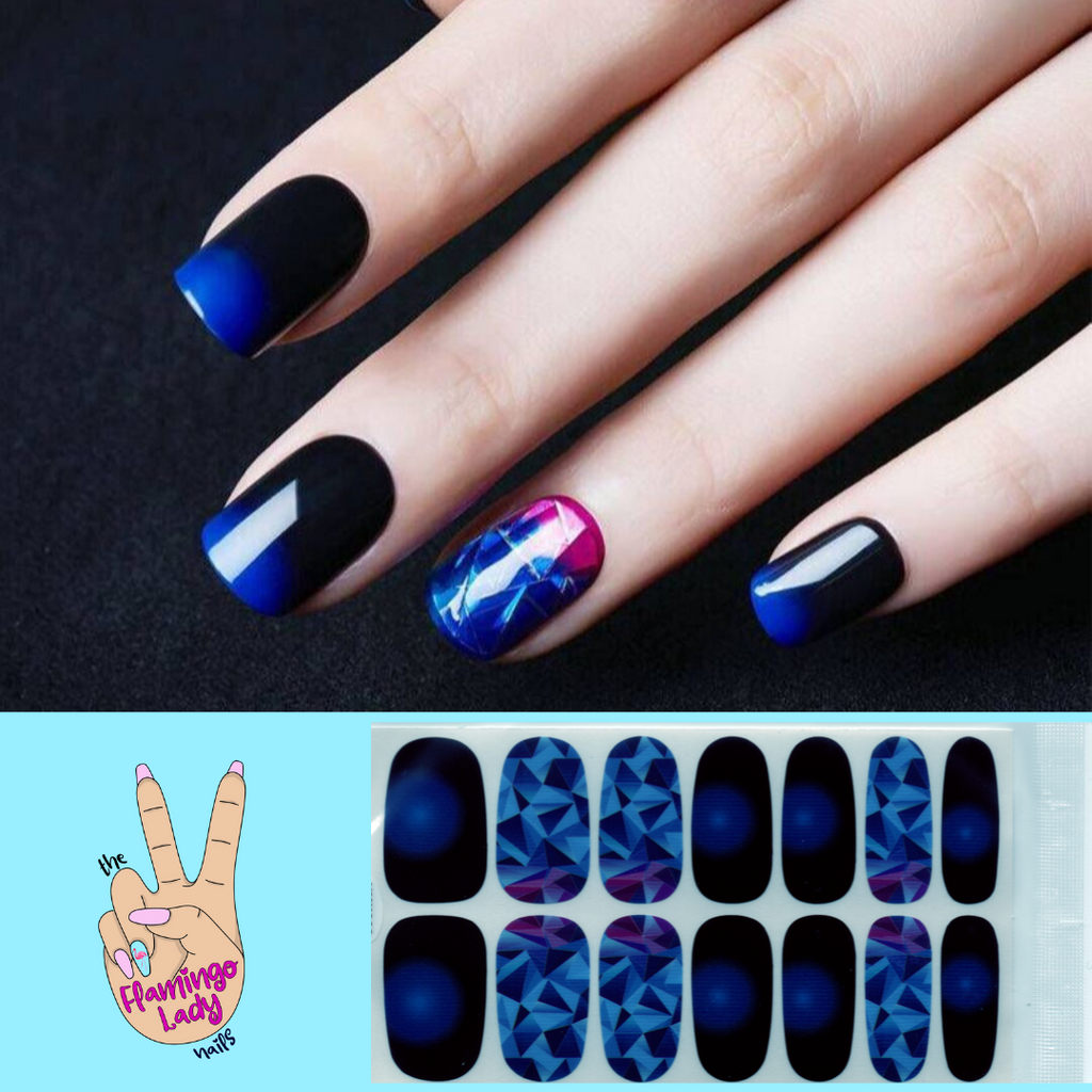 Fun Blue Matrix - The Flamingo Lady Nails