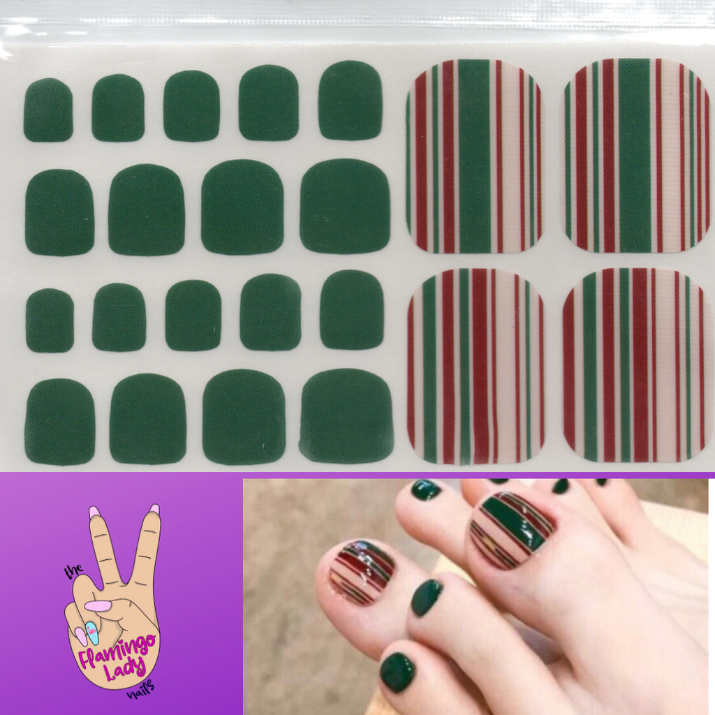 Fun Toe Forest Stripes - The Flamingo Lady Nails