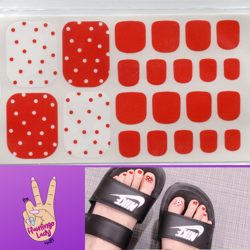 Fun Toe Red Dot - The Flamingo Lady Nails