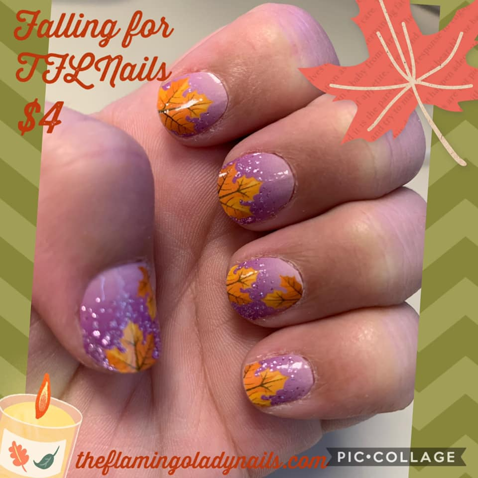 Falling for TFLNails a TFNails Exclusive - The Flamingo Lady Nails