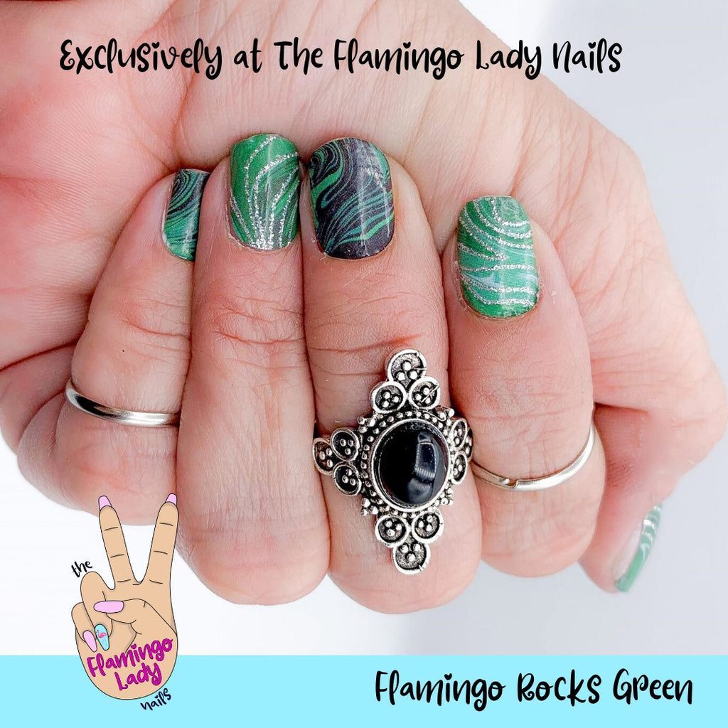 Flamingo Rocks Green Exclusively for The Flamingo Lady Nails