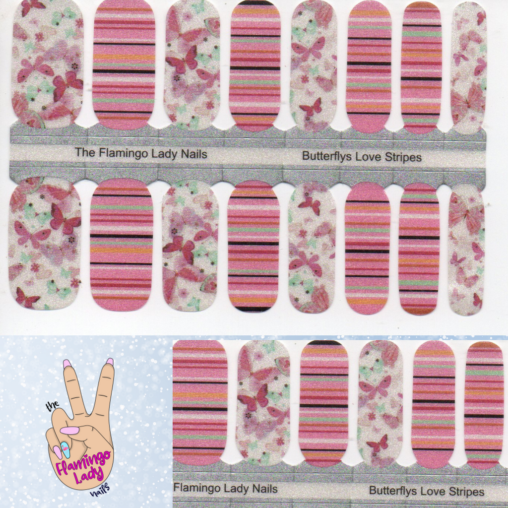 Butterflies Love Stripes - A TFLNails Exclusive!