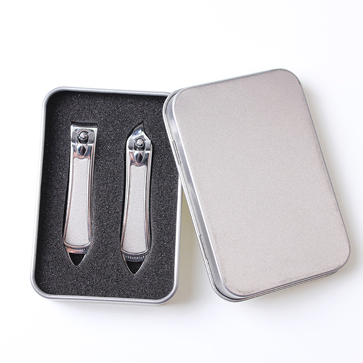 Stainless Steel Slant Edge Nail Cutter Classic 2pcs Nail Clipper Set