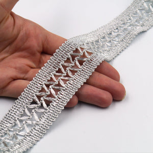 30mm Metallic braid with open lace work centre 7710
