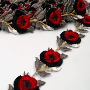 40mm Iron-On Chenille Flower Braid 9085