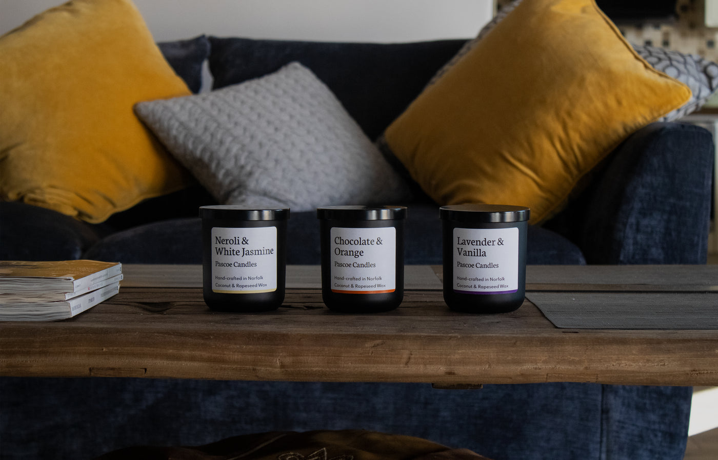 Pascoe Candles Handcrafted Vegan Luxury Candles on Wooden Table in Living Room