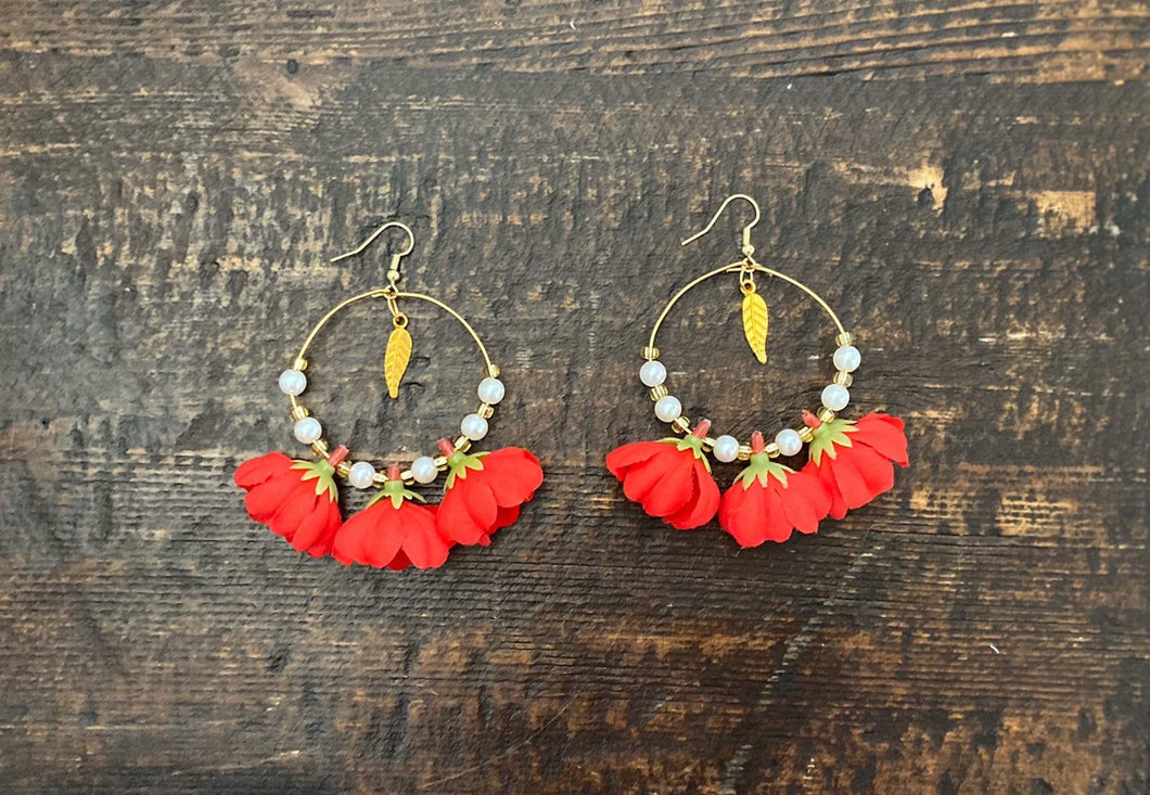 Red Jasmine Leaf Earrings