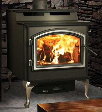 Quadra-Fire 5700 Step Top Wood Stove w/Satin Nickel Legs